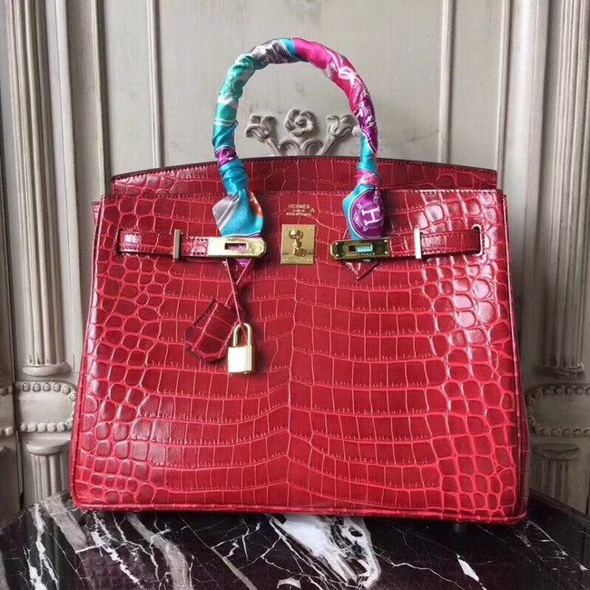 Hermes Birkin Tote Bag Croco Leather BK35 fuchsia