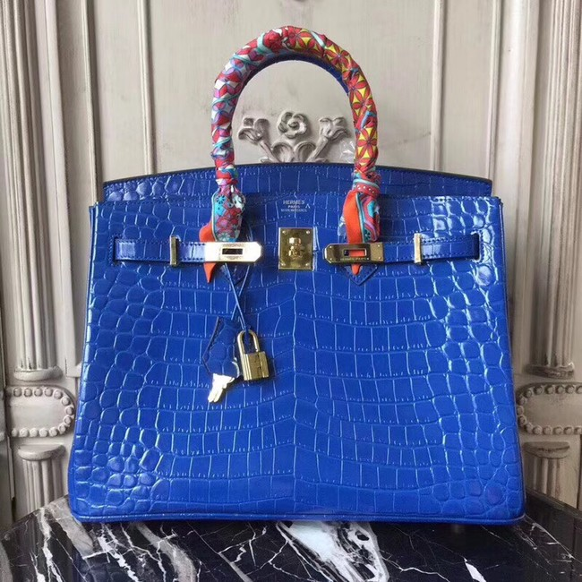 Hermes Birkin Tote Bag Croco Leather BK35 blue