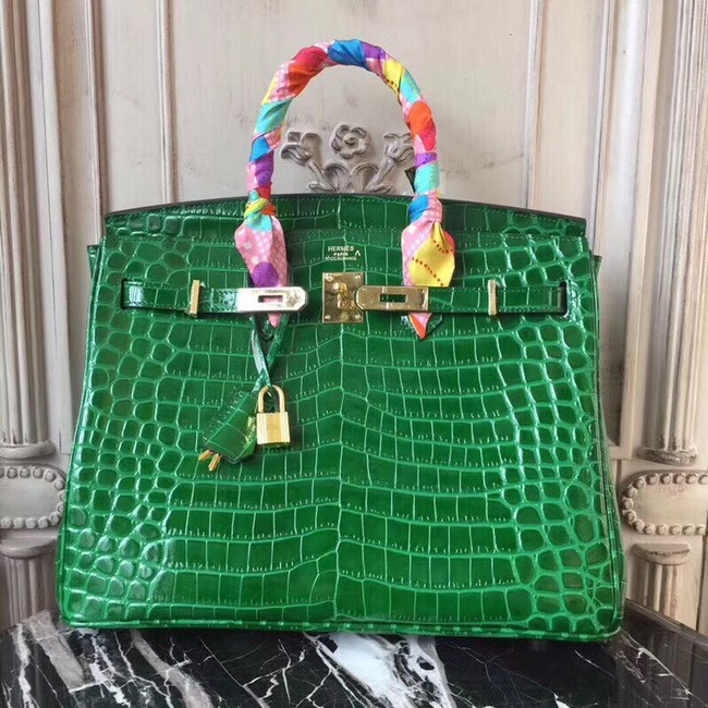 Hermes Birkin Tote Bag Croco Leather BK35 green