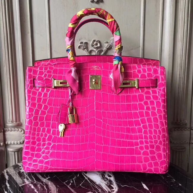 Hermes Birkin Tote Bag Croco Leather BK35 rose
