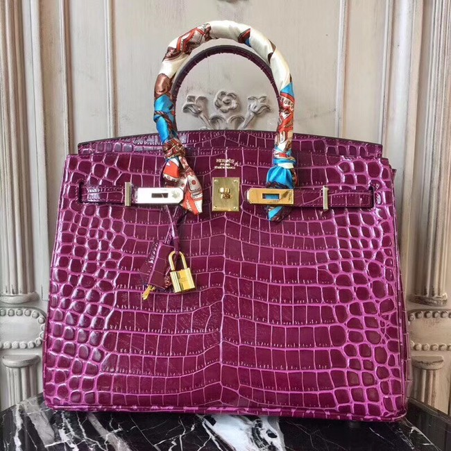 Hermes Birkin Tote Bag Croco Leather BK35 purple