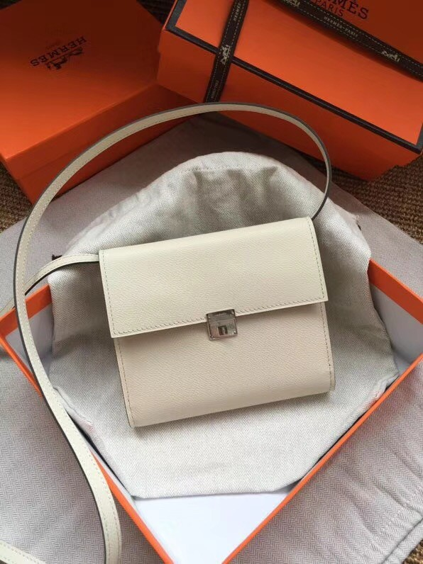 Hermes Clutch Epsom calfskin cross-body bag H0589 white