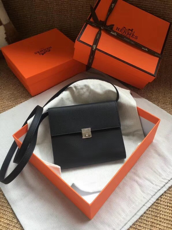 Hermes Clutch Epsom calfskin cross-body bag H0589 black