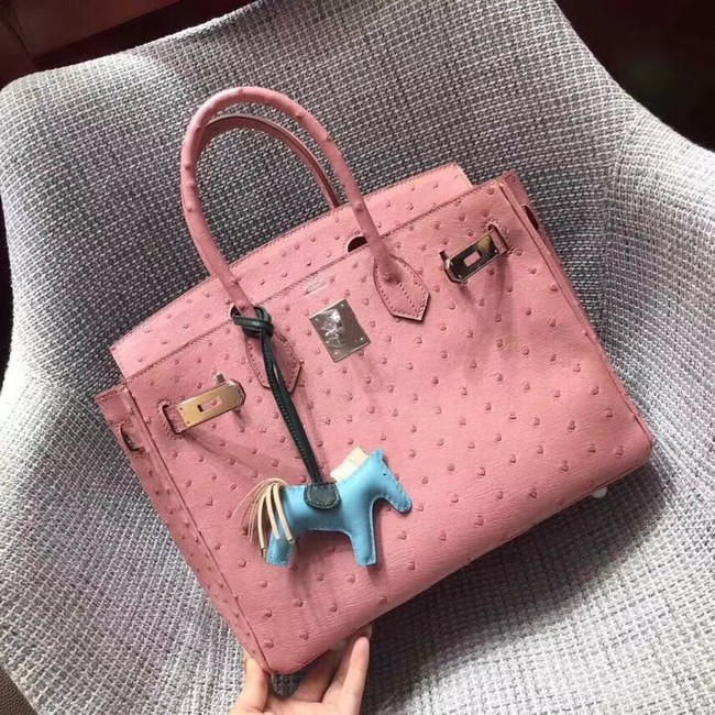 Hermes Real ostrich leather birkin bag BK35 pink