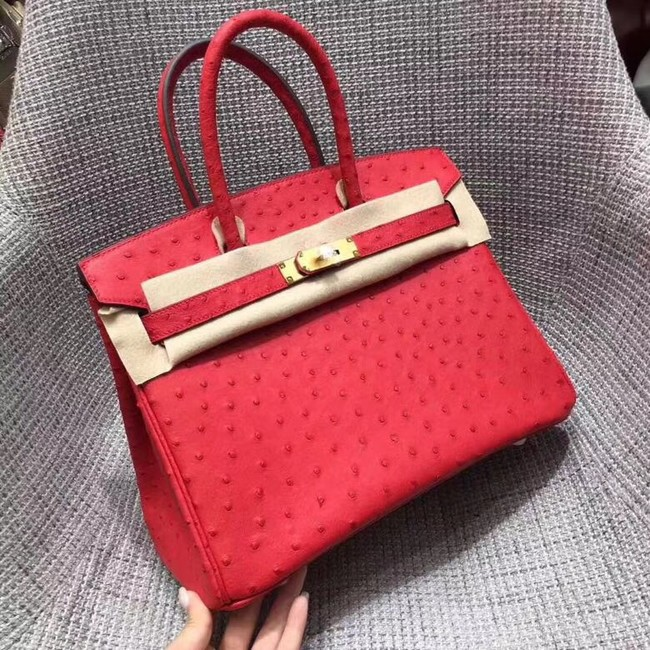 Hermes Real ostrich leather birkin bag BK35 red