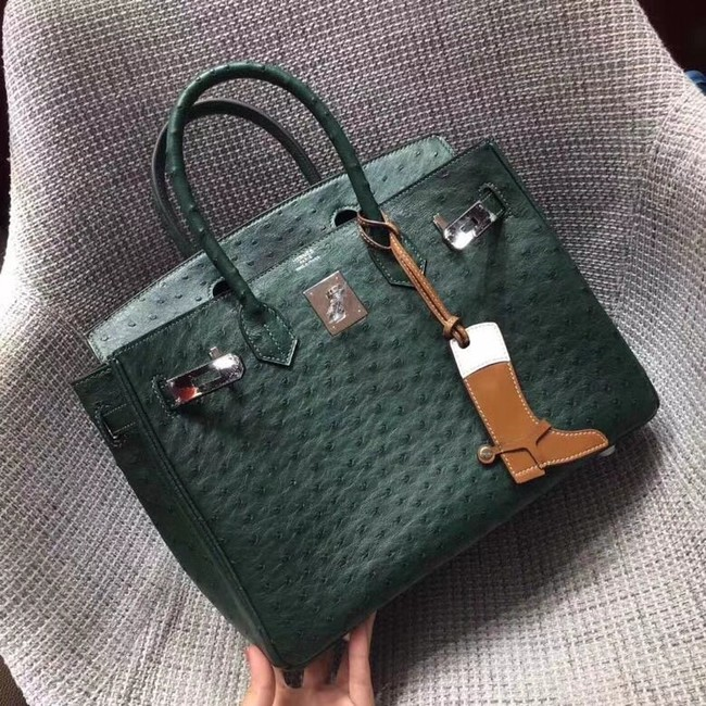 Hermes Real ostrich leather birkin bag BK35 green