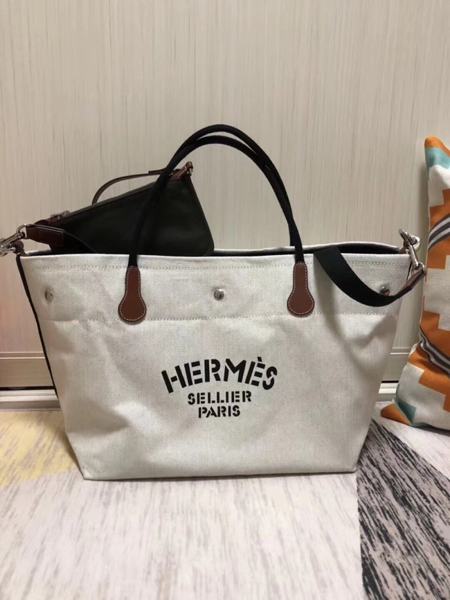 Hermes Canvas Shopping Bag H0734 white