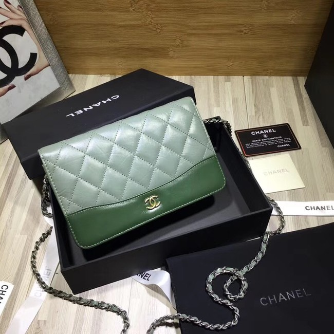 CHANEL GABRIELLE Clutch with Chain A33814 green