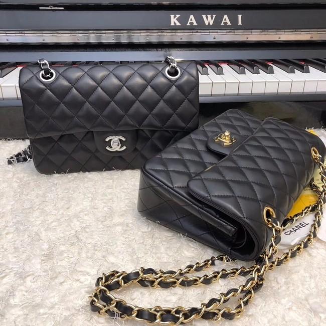 Chanel Small Classic Handbag Sheepskin silver-Tone Metal A01113 black e6a031350f323