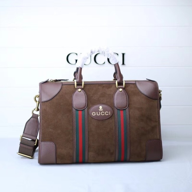 Gucci Suede duffle bag with Web 459311 brown