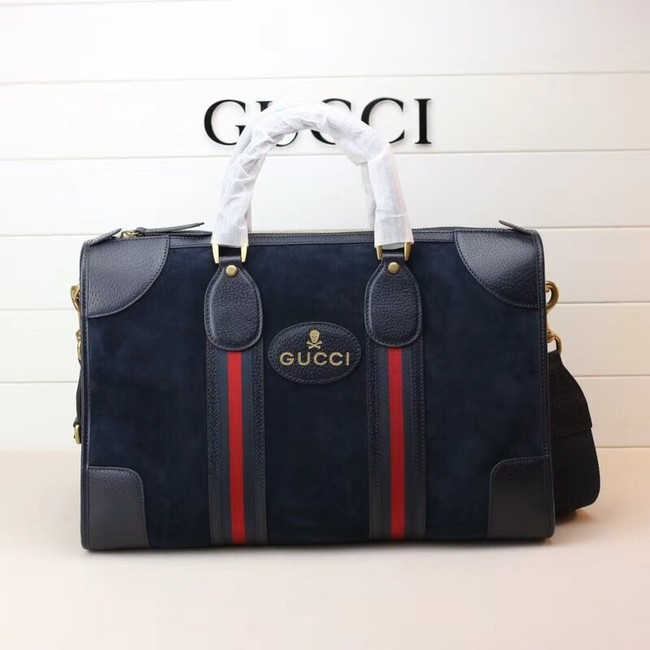 Gucci Suede duffle bag with Web 459311 Royal Blue
