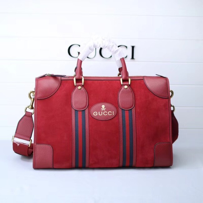 Gucci Suede duffle bag with Web 459311 red
