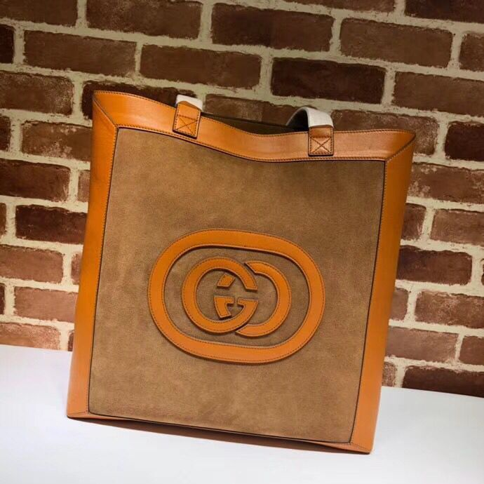 Gucci Grinding Original Leather Top Handle Shopping Bag GG519335 Maroon&Orange