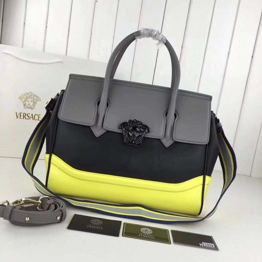 Versace Double Tote Bag 7202 Grey&Black&Yellow