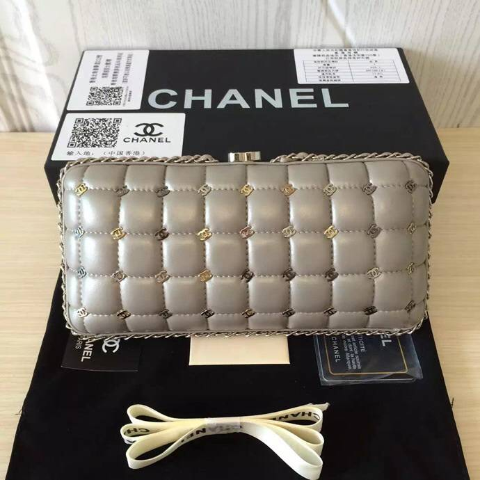 Chanel Evening Clutch Bag Original Leather C8546 Grey