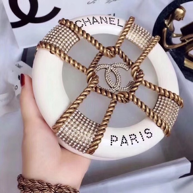 Chanel Original Minaudiere Resin Strass & Gold-Tone Metal A94672 White