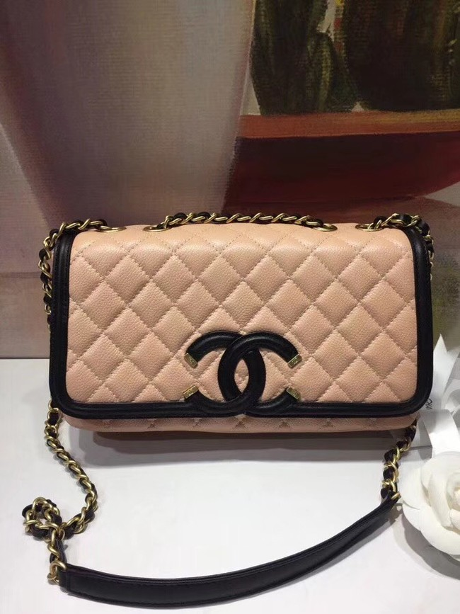CHANEL Original Clutch with Chain A85533 light pink