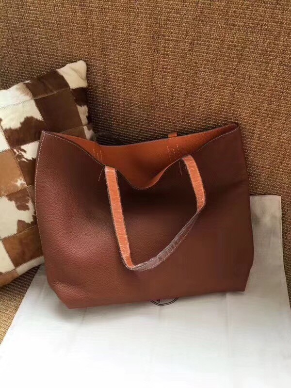 Hermes Shopping Bag Totes Clemence H036 Orange&Brown