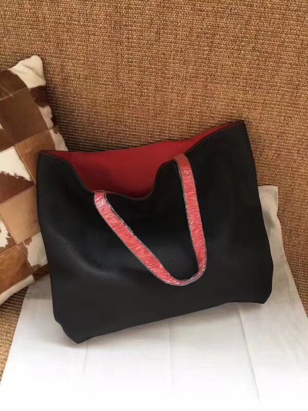 Hermes Shopping Bag Totes Clemence H036 black&red