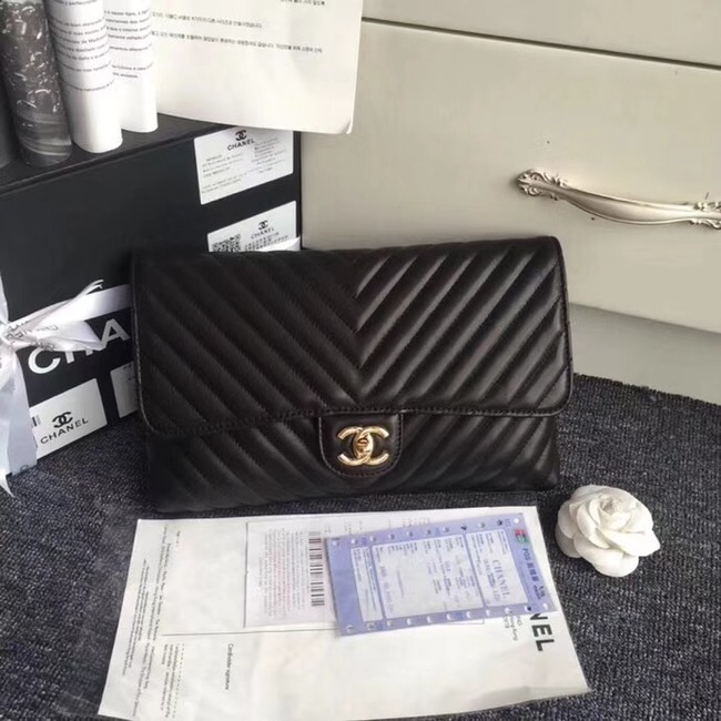 CHANEL Original Clutch Lambskin V57650 black