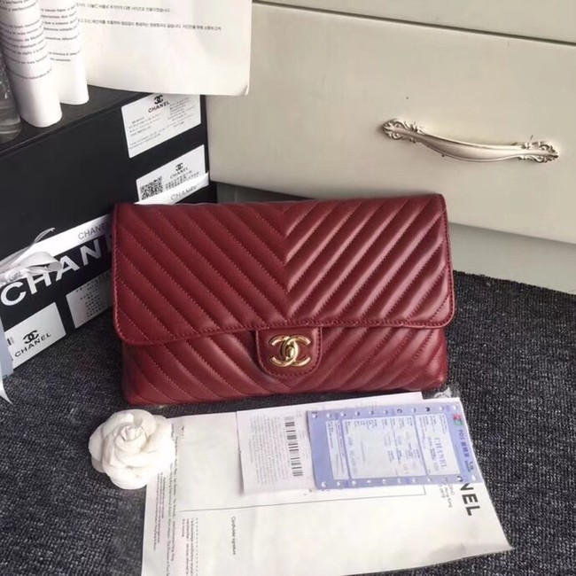CHANEL Original Clutch Lambskin V57650 red