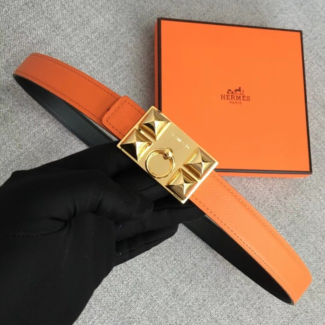 Hermes Collier de Chien belt buckle & Reversible leather strap 24 mm H0521 orange