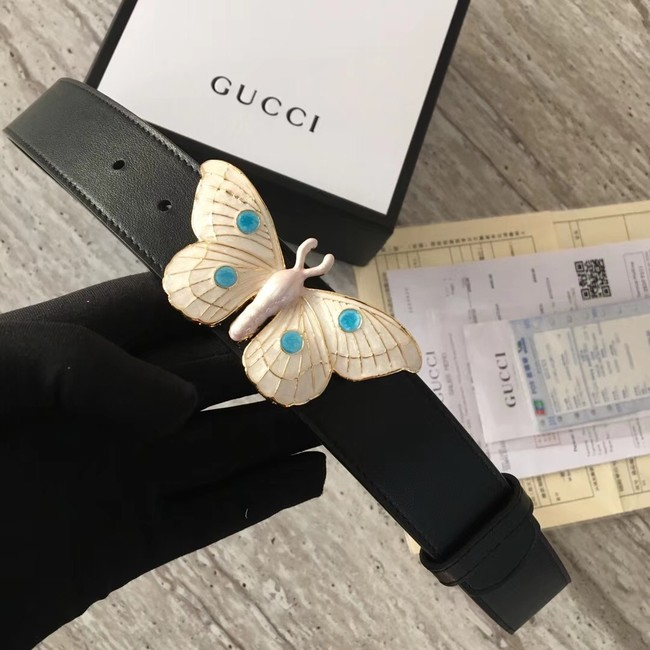 Gucci leather belt with butterfly A409417 Black