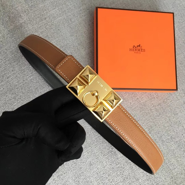 Hermes Collier de Chien belt buckle & Reversible leather strap 24 mm H0521 brown
