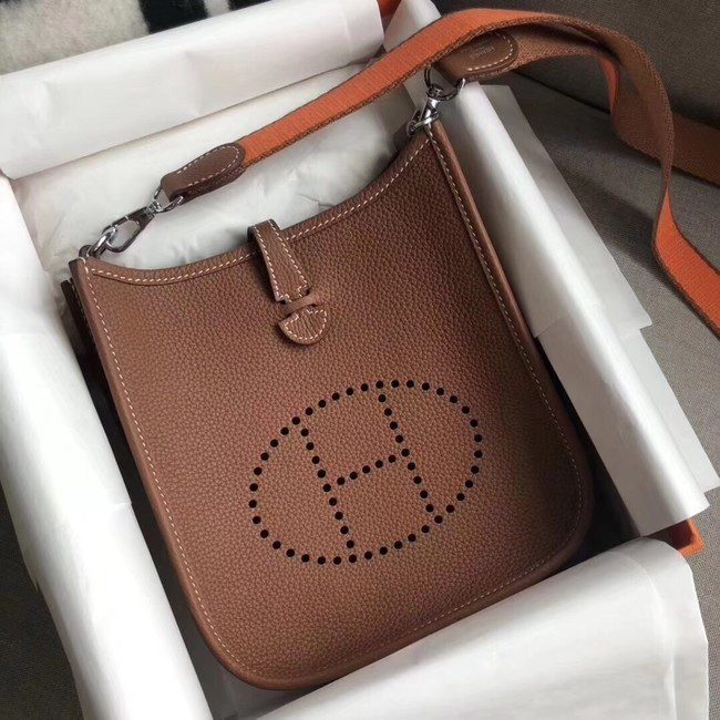 Hermes Evelyne original togo leather mini Shoulder Bag H15698 Camel