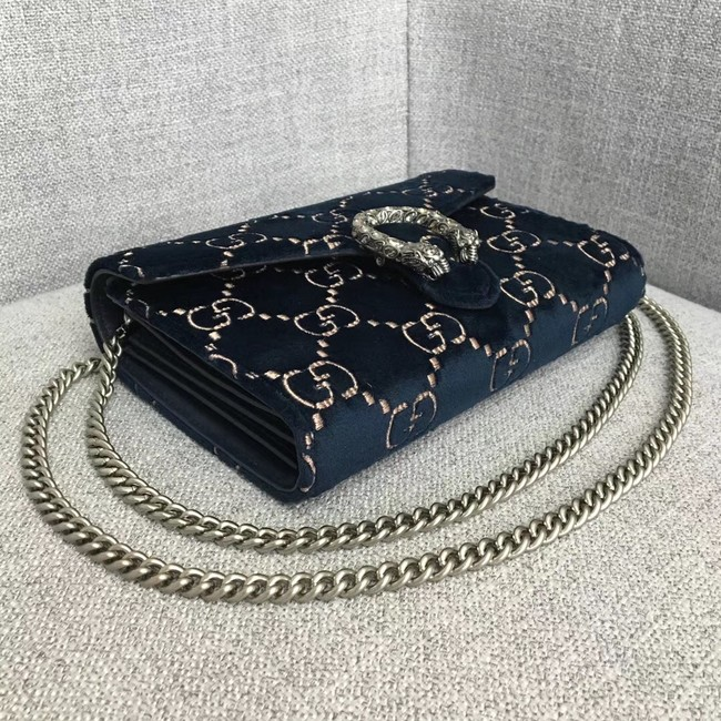 Gucci Dionysus GG velvet mini chain wallet 401231 dark blue -  189.00 4751874a634c5