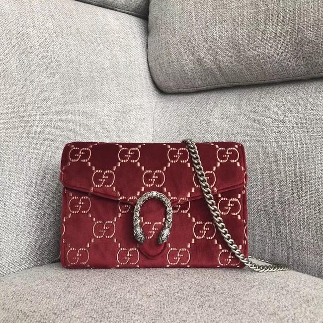 45e5f4042edd Gucci Dionysus GG velvet mini chain wallet 401231 red -  189.00
