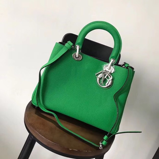 Dior Diorissimo Bag in Original Grainy Leather CD0678 green & silver-Tone Metal