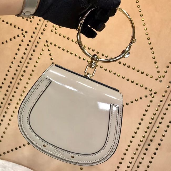 CHLOE Small Nile patent leather bracelet bag 3E1302 grey
