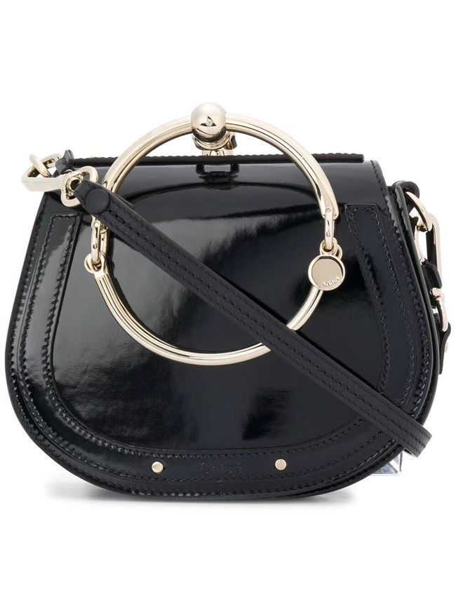 CHLOE Small Nile patent leather bracelet bag 3E1302 black