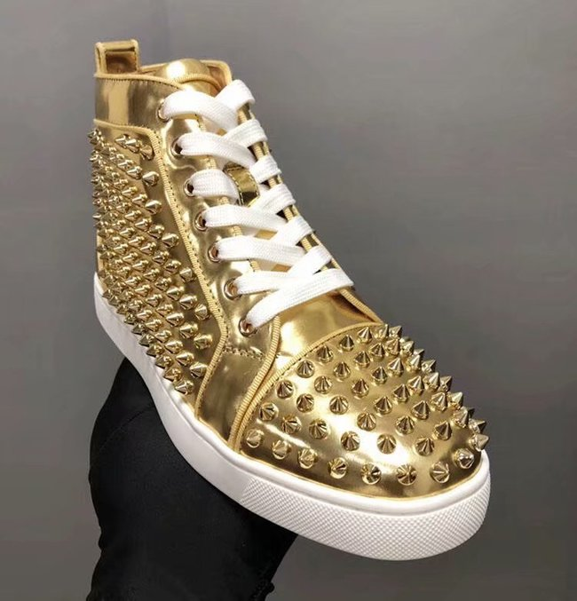 CHRISTIAN LOUBOUTIN Pik Boat glitter leather sneakers CL1037