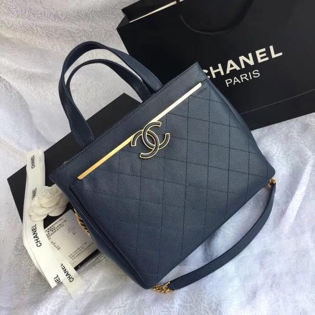 6f8ce8cf9e47 Chanel Small Shopping Bag Grained Calfskin   Gold-Tone Metal A57563 dark  blue
