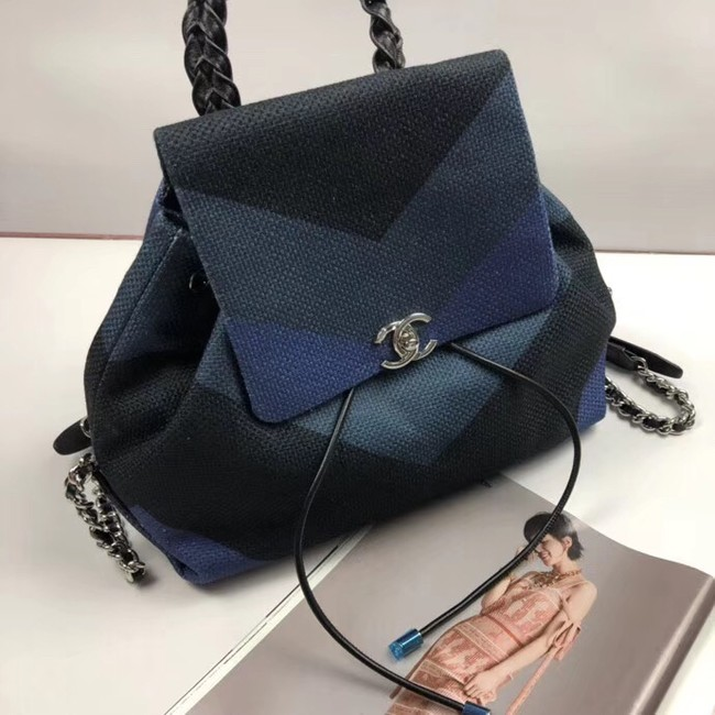 CHANEL Small Backpack 33659 Blue&black