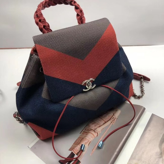 CHANEL Small Backpack 33659 Blue&orange&grey