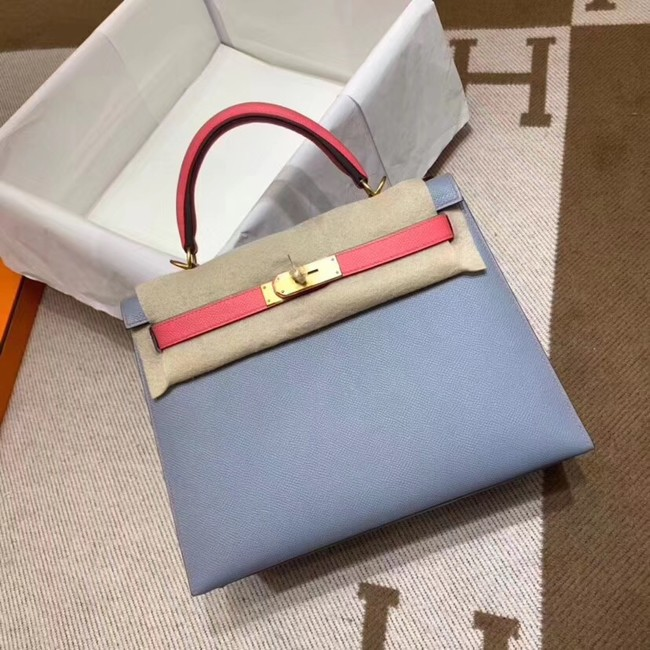 Hermes Kelly 28cm Shoulder Bags Epsom Leather KL28 blue&Pink