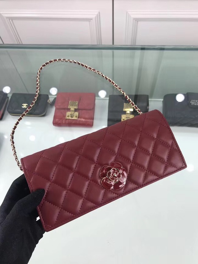 CHANEL Clutch Lambskin & Gold-Tone Metal A94575 red