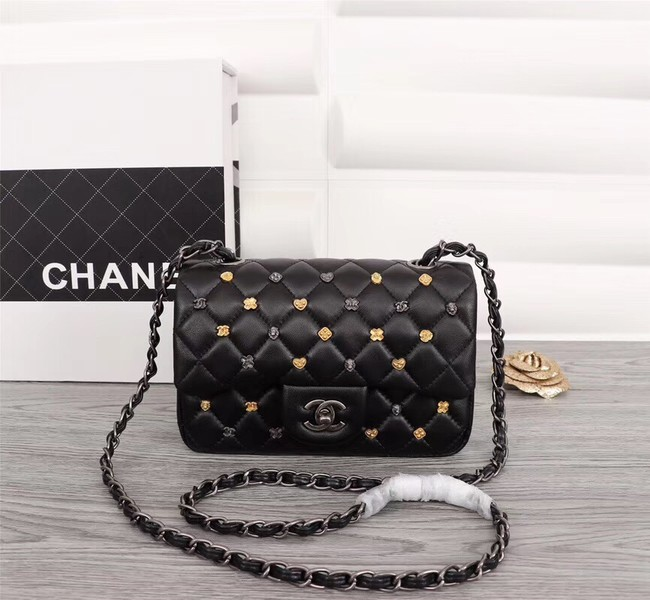 Chanel Classic Sheepskin Leather cross-body bag A1116 black silver-Tone Metal