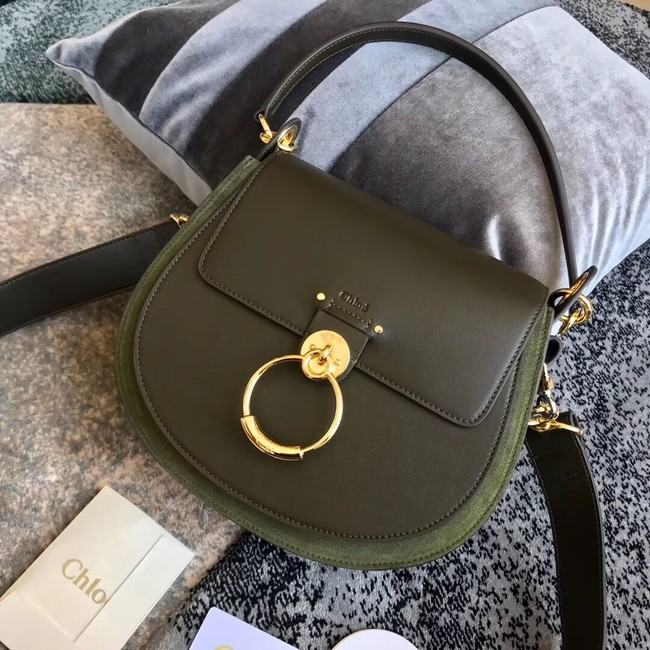 CHLOE Tess leather and suede cross-body bag 3S152 Blackish green