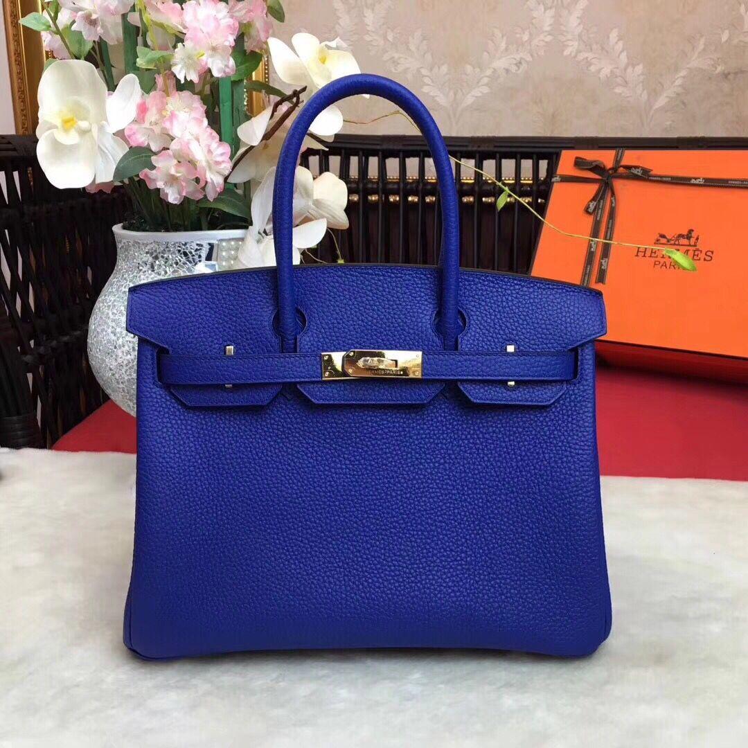 Hermes Birkin Tote Bag Original Leather BK35 blue ae4b19f3092f1