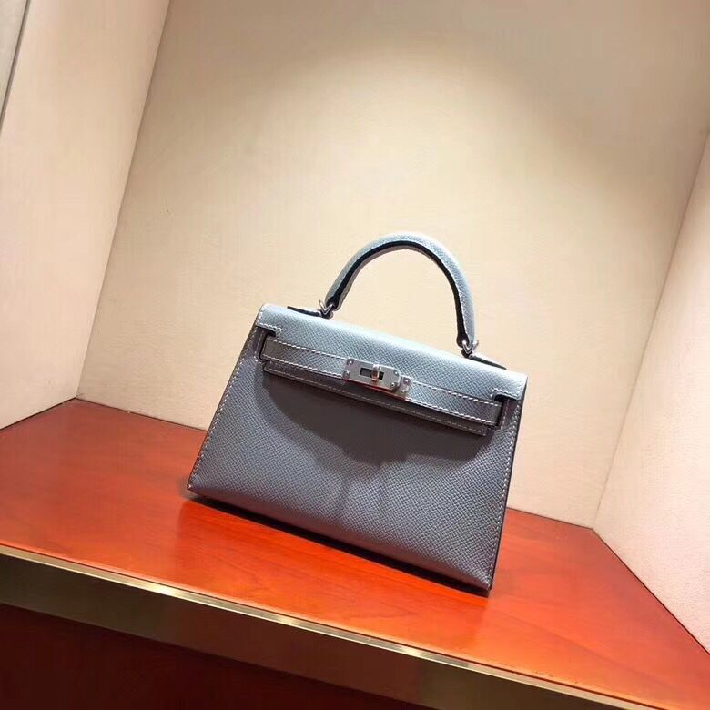 Hermes original epsom leather mini kelly bag K001 light blue
