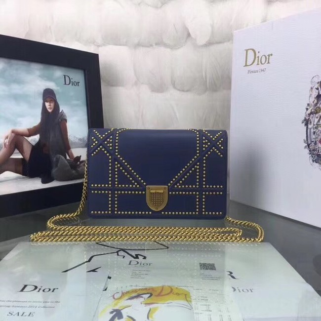 Dior CANNAGE Original sheepskin Leather mini Shoulder Bag 3709 blue