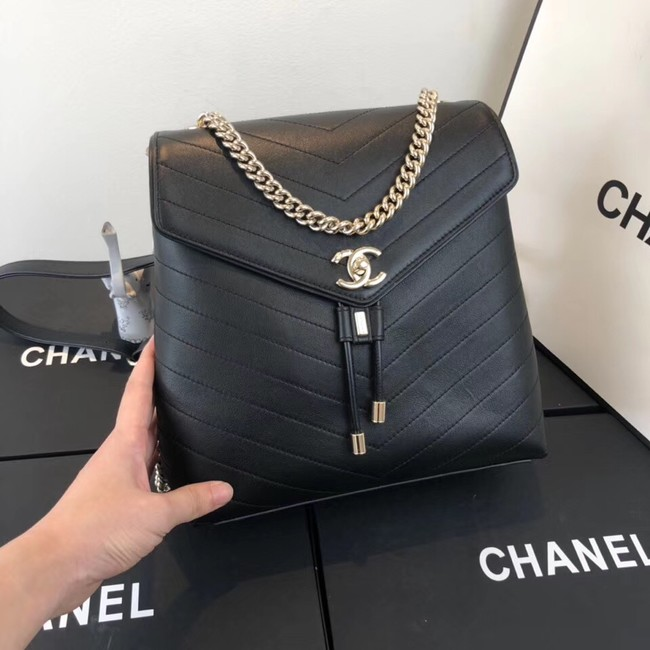 Chanel backpack Calfskin & Gold-Tone Metal A57555 black