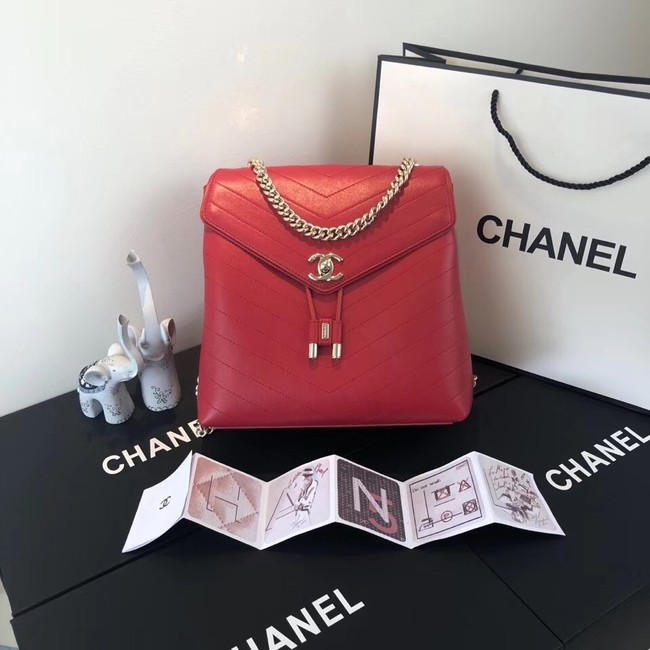 Chanel backpack Calfskin & Gold-Tone Metal A57555 red