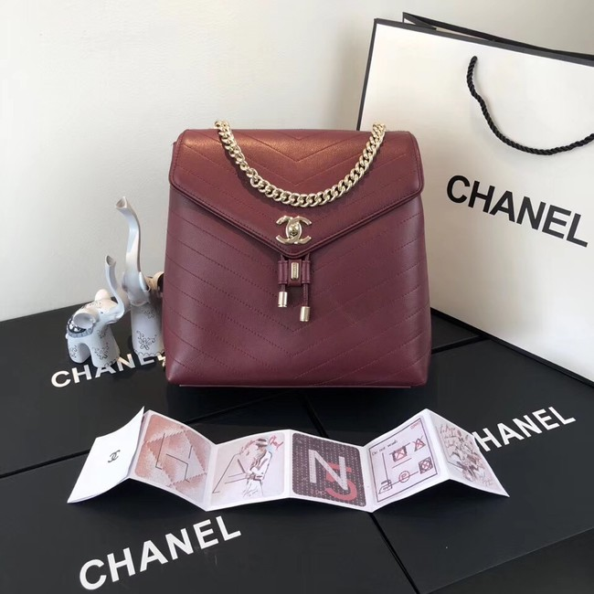Chanel backpack Calfskin & Gold-Tone Metal A57555 Burgundy
