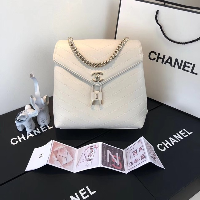 Chanel backpack Calfskin & Gold-Tone Metal A57555 creamy-white