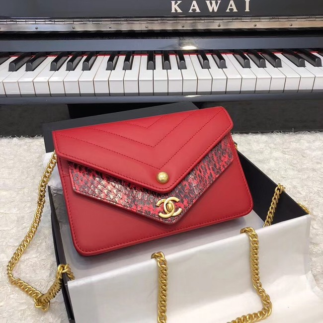 Chanel Original Lambskin & Gold-Tone Metal D33814 red